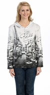 Jess & Jane - Paris Cafe, Hoodie Top Long Sleeve with Rhinestone Accents