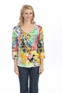 Jess & Jane - Poetic Colors, White Knit Top 3/4 Sleeve V-Neck Rhinestone Accents