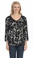Jess & Jane - Primal Jungle, Black Knit Top 3/4 Sleeve V-Neck Rhinestone Accents