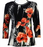 Jess & Jane Rising Flower Black Slub Top 3/4 Sleeve Scoop Neck Rhinestone Cotton