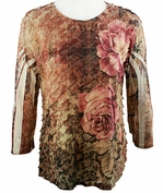 Jess & Jane - Rose Garden 3/4 Sleeve Scoop Neck Ruffled Sublimation Top