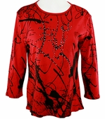 Jess & Jane Scrolls Red Knit Top Geometric Blouse 3/4 Sleeve Scoop Neck Cotton