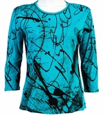 Jess & Jane Scrolls Teal Blue Knit Geometric Blouse 3/4 Sleeve Scoop Neck Cotton
