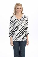 Jess & Jane - Serengeti, White Knit Top 3/4 Sleeve V-Neck Rhinestone Accents