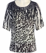 Jess & Jane, Short Sleeve, Rhinestone Highlights, Scoop Neck, Cold Shoulder, Multi Colored Burnout Top - Black Cheetah