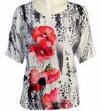 Jess & Jane, Short Sleeve, Rhinestone Highlights, Scoop Neck, Cold Shoulder, Multi Colored Burnout Top - Leopard Poppy