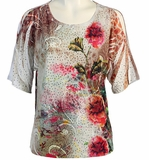 Jess & Jane, Short Sleeve, Rhinestone Highlights, Scoop Neck, Cold Shoulder, Multi Colored Burnout Top - Rosethorne