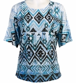 Jess & Jane, Short Sleeve, Rhinestone Highlights, Scoop Neck, Cold Shoulder, Multi Colored Burnout Top - Tribal