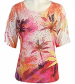 Jess & Jane, Short Sleeve, Rhinestone Highlights, Scoop Neck, Cold Shoulder, Multi Colored Burnout Top - Tropical Palms