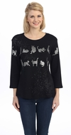Jess & Jane - Silver Cat Silhouette, 3/4 Sleeve Scoop Neck Cotton Rhinestone Top