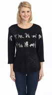 Jess & Jane - Silver Dog Silhouette, 3/4 Sleeve Scoop Neck Cotton Rhinestone Top