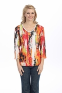 Jess & Jane - Spicy Colors, White Knit Top 3/4 Sleeve V-Neck Rhinestone Accents