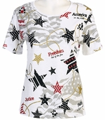 Jess & Jane Star Spangle Jersey White Top Flag Design Short Sleeves Round Neck