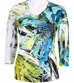 Jess & Jane V-Neck, 3/4 Sleeve Microfiber Spandex Blend Jersey Top - Rain Forest