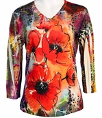 Jess & Jane V-Neck, 3/4 Sleeve Microfiber Spandex Blend Jersey Top - Red Poppies
