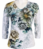 Jess & Jane V-Neck, 3/4 Sleeve Microfiber Spandex Blend Jersey Top - Rose Lace