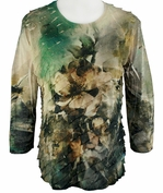 Jess & Jane - Water Color, 3/4 Sleeve Scoop Neck Ruffled Sublimation Top