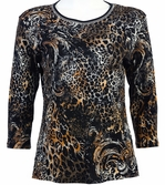 Jess & Jane Wild Elegance Black Knit Top Animal 3/4 Sleeve Scoop Neck Cotton