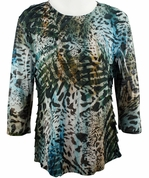 Jess & Jane - Wild Icee, 3/4 Sleeve Scoop Neck Ruffled Sublimation Top