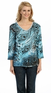 Jess & Jane - Wild Peacock, Blue Knit Top 3/4 Sleeve V-Neck Rhinestone Accents
