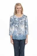 Jess & Jane - Wings of Dawn, Knit Top 3/4 Sleeve Scoop Neck with Rhinestone Accents