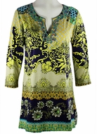 Joyous & Free Clothing Multi Colored Geometric Print, 3/4 Sleeve Womens Tunic Mini Dress with Sweetheart Collar & Side Pleats - Thrones