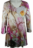 Katina Marie 3/4 Sleeve, Colorfully Printed, Rhinestone Trimmed V-Neck, Multi Colored Burnout Tunic Top - Forest View
