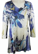 Katina Marie 3/4 Sleeve, Colorfully Printed, Rhinestone Trimmed V-Neck, Multi Colored Burnout Tunic Top - Passion