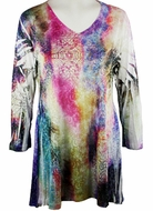 Katina Marie 3/4 Sleeve, Colorfully Printed, Rhinestone Trimmed V-Neck, Multi Colored Burnout Tunic Top - Rainbow Sky