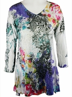 Katina Marie 3/4 Sleeve, Colorfully Printed, Rhinestone Trimmed V-Neck, Multi Colored Burnout Tunic Top - Shades of Summer