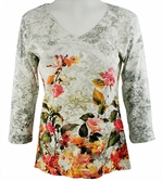 Katina Marie 3/4 Sleeve, Floral Themed, Pre-Washed, Printed Cotton, V-Neck Multi-Colored Top - Mist Garden