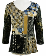 Katina Marie 3/4 Sleeve, Foil Accents, Printed Cotton, V-Neck Multi-Colored Top - Pattern Schemes