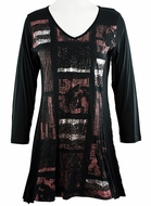 Katina Marie 3/4 Sleeve, Foil Highlights, Pre-Washed, Printed Cotton Microfiber Blend, Scoop Neck Black Tunic - Foil Blocks