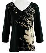 Katina Marie 3/4 Sleeve, Gold Foil Accented, Pre-Washed, Printed Cotton, V-Neck Black Colored Top - Golden Flowers