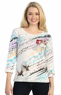 Katina Marie 3/4 Sleeve, Gold Foil Accents, Printed Cotton, V-Neck Multi-Colored Top - Day Blossom
