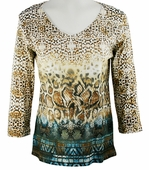 Katina Marie 3/4 Sleeve, Pre-Washed, Geometric Animal Printed Cotton, V-Neck Multi-Colored Top - Animal Blend