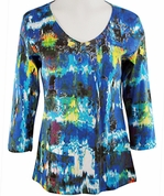 Katina Marie 3/4 Sleeve, Pre-Washed, Geometric Floral Print, V-Neck Multi Colored Cotton Top - Floral View