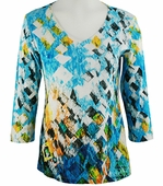 Katina Marie  3/4 Sleeve, Pre-Washed, Geometric Print Cotton, V-Neck Multi Colored Top - Squared Away