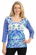 Katina Marie 3/4 Sleeve, Pre-Washed, Printed Cotton, Geometric Floral Pattern, V-Neck Blue Colored Top - Floral Designs