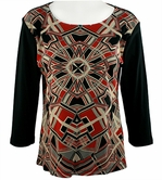 Katina Marie 3/4 Sleeve, Pre-Washed, Printed Cotton Scoop Neck, Black Colored, Geometric Print Top - Geometric Pattern