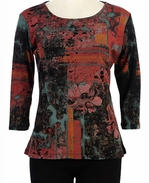 Katina Marie 3/4 Sleeve, Pre-Washed, Printed Cotton Scoop Neck, Black Colored, Rhinestone Studded, Print Top - Sprayed Floral