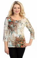 Katina Marie 3/4 Sleeve, Pre-Washed, Printed Cotton Scoop Neck, Multi Colored, Geometric Print Top - Pattern Array