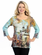 Katina Marie 3/4 Sleeve, Pre-Washed, Printed Cotton Scoop Neck, Multi Colored, Print Top - Foreign Passage