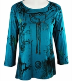 Katina Marie 3/4 Sleeve, Pre-Washed, Printed Cotton Scoop Neck, Teal Colored, Rhinestone Accented, Western Style Print Top - Indians