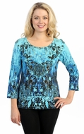 Katina Marie 3/4 Sleeve, Pre-Washed, Printed Cotton Scoop Neck, Turquoise Colored, Rhinestone Studded, Print Top - Antique Mirror