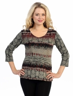 Katina Marie 3/4 Sleeve, Pre-Washed, Printed Cotton V-Neck, Multi Colored, Foil Accented, Print Top - Simplicity