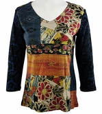 Katina Marie 3/4 Sleeve, Pre-Washed, Printed Cotton V-Neck, Multi Colored, Rhinestone Accented, Asian Print Top - Eastern Medley