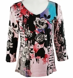 Katina Marie 3/4 Sleeve, Pre-Washed, Printed Cotton V-Neck, Multi Colored, Rhinestone Accented, Cotton Print Top - Floral Blush