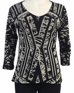Katina Marie 3/4 Sleeve, Pre-Washed, Printed V-Neck, Black Colored, Rhinestone Studded, Print Top - Crossed Tracks