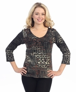 Katina Marie 3/4 Sleeve, Pre-Washed, Printed V-Neck, Black Colored, Sleeve Foil Accented, Print Top - Ancient Ways